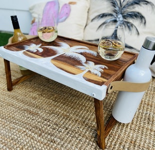 DIYGIRL.SHEDSHOP POP Up personal portable PiCNIC table with designer carry handle and bottle holder 2021