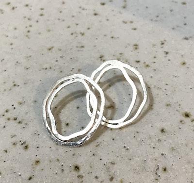 Sarah Munnings Jewellery 30mm Silver Abstract funky fun earrings