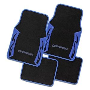 Carbon Blue Carpet Car Floor Mats Universal Fit