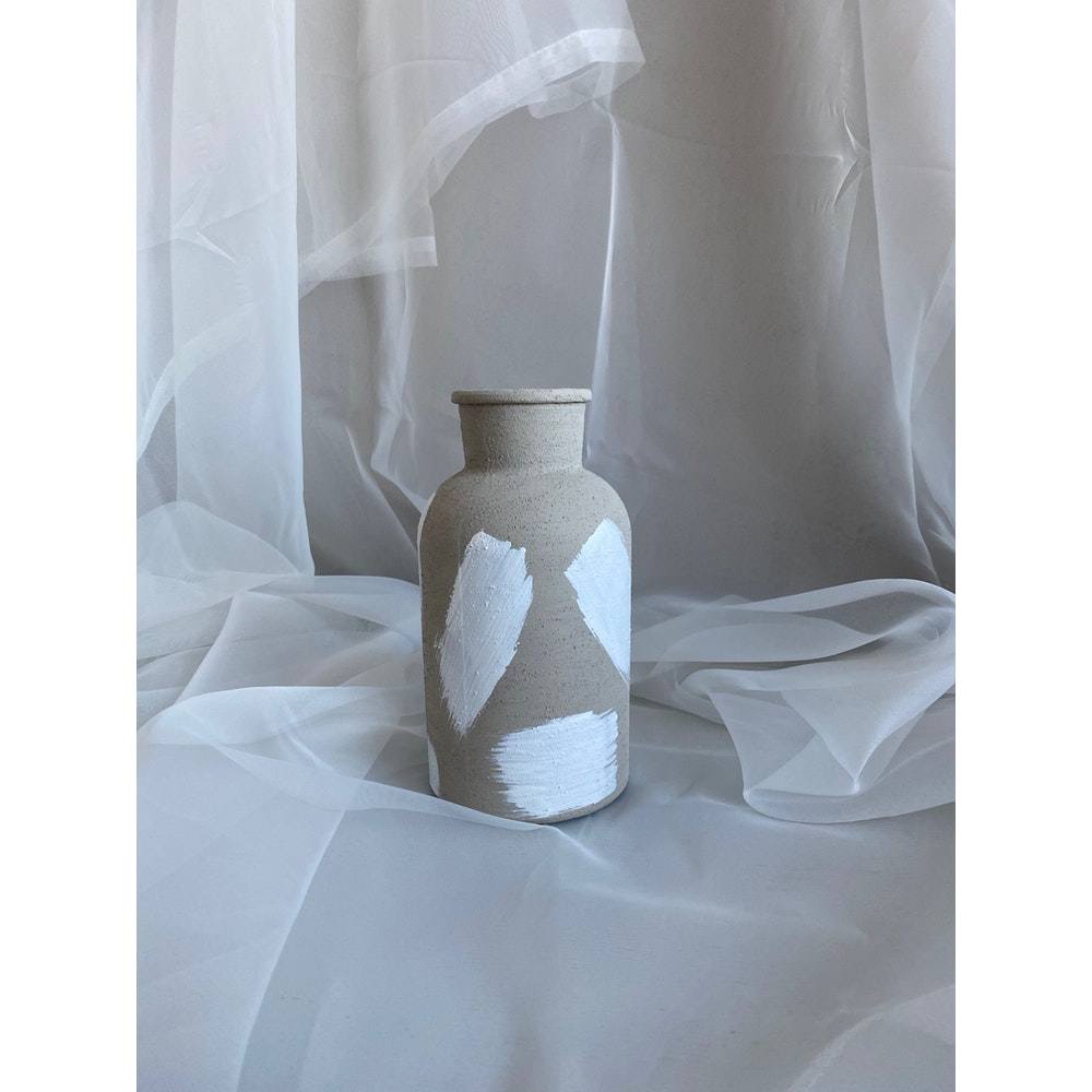 Sixteen Luxe Handpainted Textured Vase - 20cm Textured Stone Vase With White Strokes