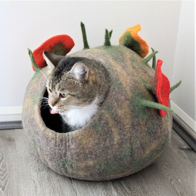 """Queenie's Pawprints Hand-felted Wool Cat Cave """"Enchanted Forest"""""""