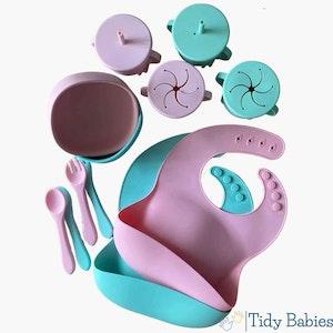 Tidy Babies  Mealtime Silicone Baby Feeding Bundle Set Premium Pack