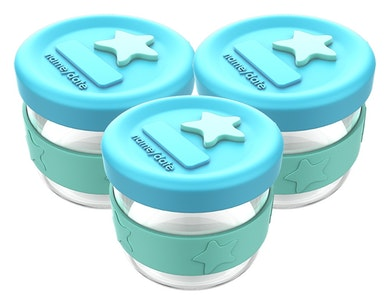 Silicone & Glass Baby Food Storage 3PK 120ml - Aqua Mint