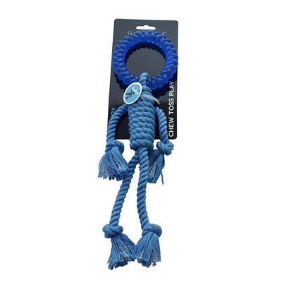 ScreamPet Scream Rope Man w/ TPR Head Interactive Play Dog Toy 30cm - 4 Colours