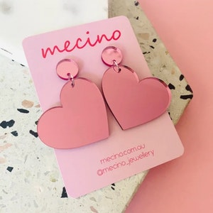 Sweet Hearts - Oversized Mirrored Pink Heart Earrings