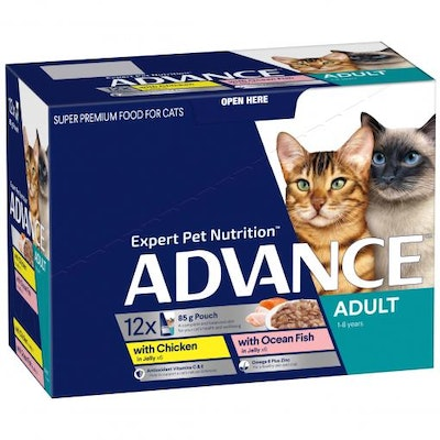 Advance Adult Chicken, Ocean Fish In Jelly Wet Cat Food 12x85G