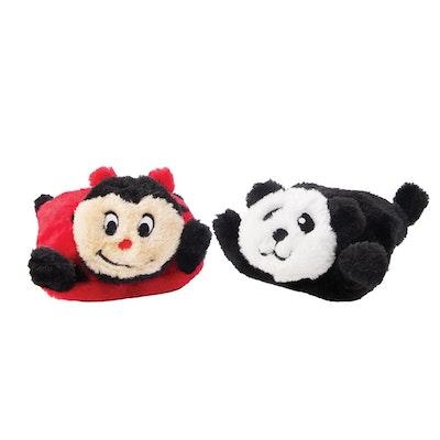 Zippy Paws Squeakie Pads Ladybug & Panda No Stuffing Plush Dog Toy 2 Pack