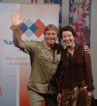 Steve Irwin backstage with Qld Tourism Minister Margaret Keech