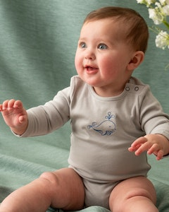Certified Organic Cotton Dolphin Bodysuit - Grey