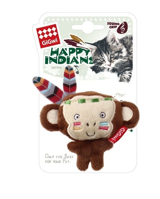 GIGWI Happy Indians Melody Chaser Monkey Interactive Cat Toy