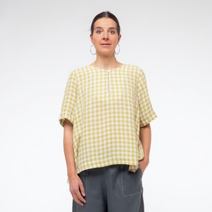 Linen Keyhole Neck Top, Zest Small Check Gingham
