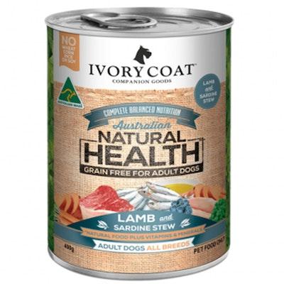 IVORY COAT Dog Adult Lamb & Sardine Stew 400g Cans x 12