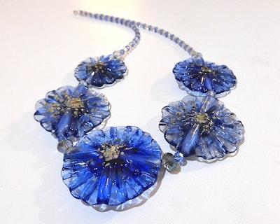 Beadoire Glass Lampwork Glass 'Fleur' Necklace   'Blue Bayou' 2021