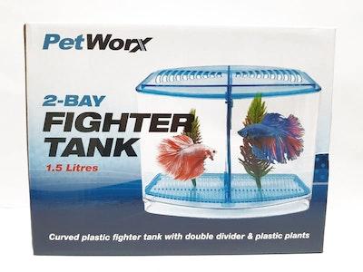 Petworx 2 Bay Fighter Tank 1.5L Fighting Fish Betta Aquarium