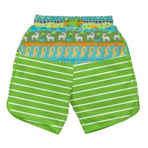 i play. Mix & Match Board Shorts w/Built-in Reusable Absorbent Swim Diaper-Green Safari