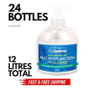 24x 500ml Hand Sanitiser Gel Anti-Becterial 72% Alcohol Kills 99.99% Bacteria BULK