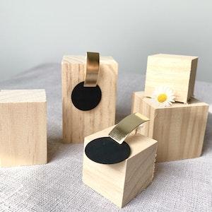 Symbolic Studio Black Round - Gold Bar Earrings