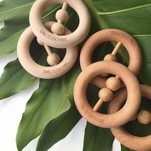 Natural Beech Wood Rattle Teether