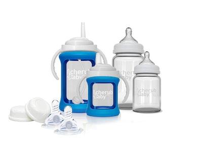 Glass Baby Bottles Starter Kit -Blue