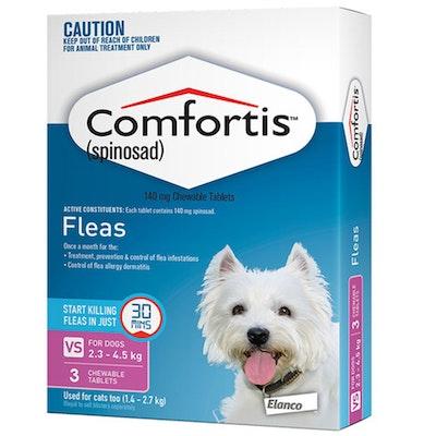 Comfortis Dog & Cat Flea Treatment 140mg Pink 2.3-4.5kg & 1.4-27kg 6 Pack - 1 Size