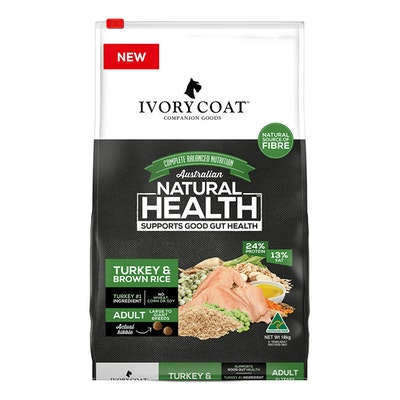 IVORY COAT Adult Large Breed Dry Dog Food Turkey & Brown Rice - 2 Sizes