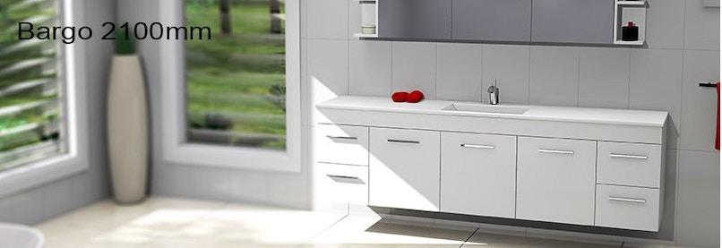 Timberline bargo 2100mm wall hung vanity pre built for Premade bathroom vanities