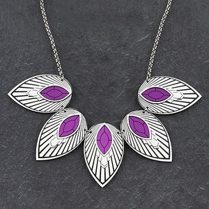 THE ATHENA I Purple and Silver Art Deco Collar Necklace