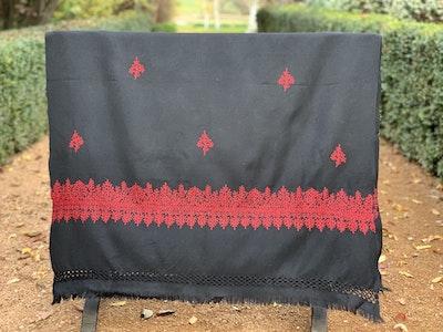 hand-embroidered chabi merino wrap