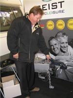Wayne Moller shows the Geist easy lock  and release hand brake