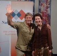 Steve Irwin with Qld Tourism Minister Margaret Keech