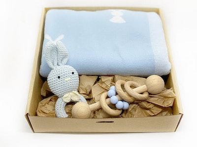 Avie Designs Baby Blanket and Bunny Gift Box Blue