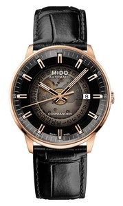 Mido Commander Gradient - Stainless Steel with Rose Gold PVD - Black Leather Strap
