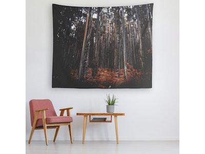 "Art Of A Kind Dark Orange Forest Wall Art Tapestry - 80x68"""