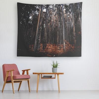 "Art Of A Kind Dark Orange Forest Wall Art Tapestry - 60x50"""