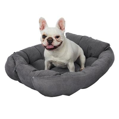 PaWz Pet Bed 2 Way Use Dog Cat Soft Warm Calming Mat Sleeping Kennel Sofa Grey XL