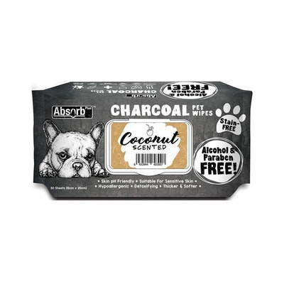 ABSORB PLUS Charcoal Pet Wipes Coconut 80 Sheets 20X15Cm