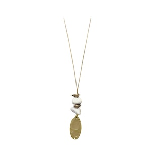 Mottled Wood Chips and Hammered Oval Necklace