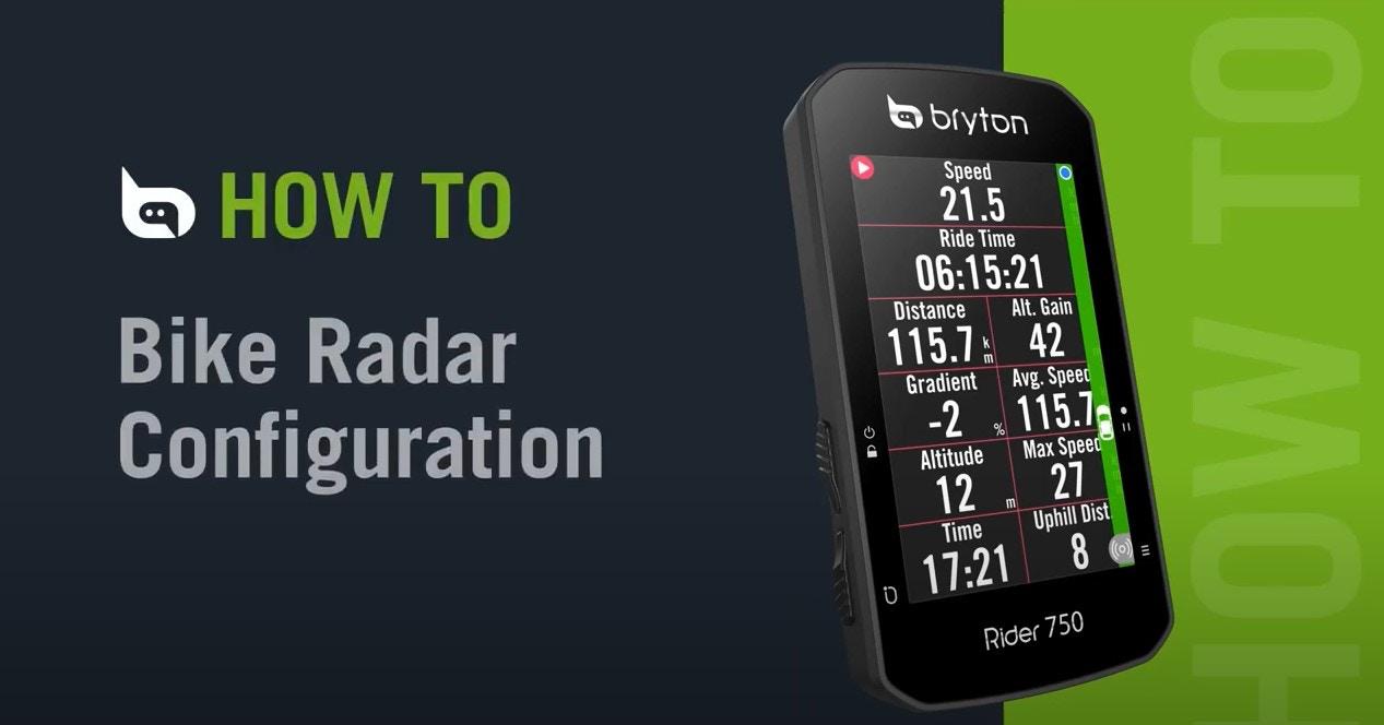 Bryton - Rider 750   Bike Radar Configuration