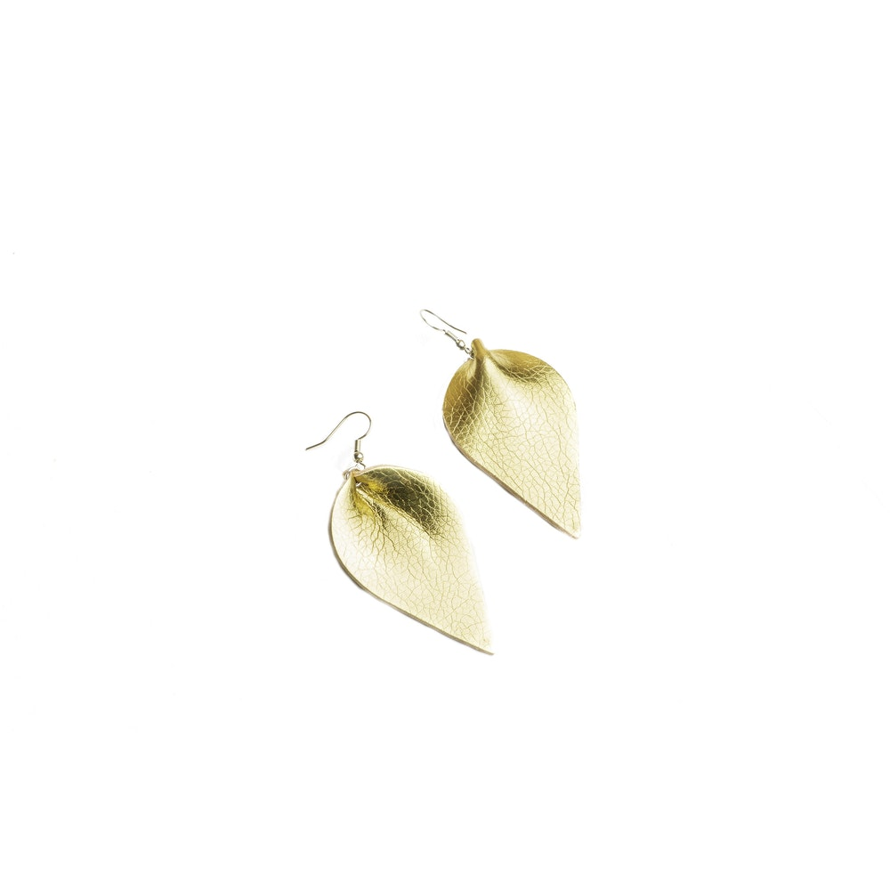 One of a Kind Club Gold Petal Shaped Earrings