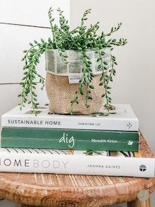 Mini Pot Plant Cover - Sage Shibori Reversible Hessian