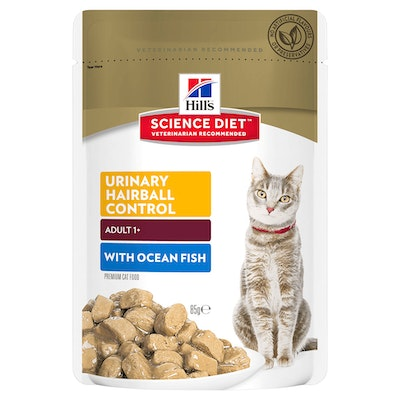 Hills Adult Urinary Hairball Control Wet Cat Food Ocean Fish 12 x 85g