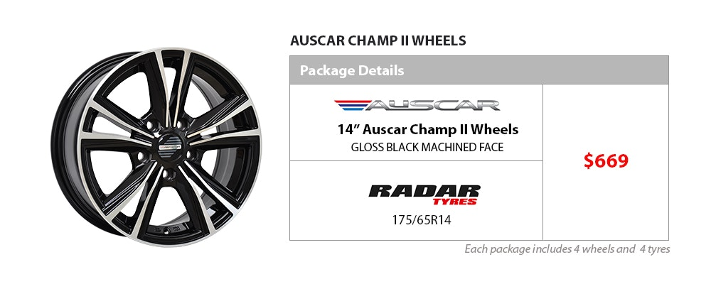Auscar and Radar Wheel & Tyre package $669
