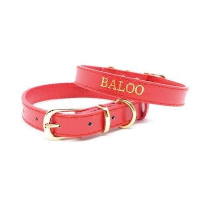 Petzy Red - Premium Personalised Pet Collar (Gold)