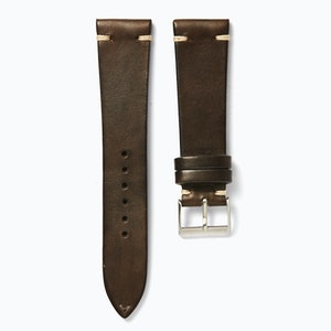 Time+Tide Watches  Dark Brown + Cream Stitch Vintage Leather Watch Strap