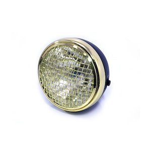 """Mesh Side Mount Motorcycle Headlight - 7.7"""" Black and Brass"""