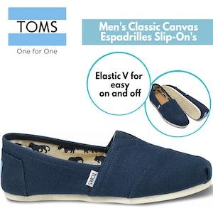 Boutique Medical TOMS Men's Canvas Espadrilles Alpargata Shoes Slip On Classic - Navy
