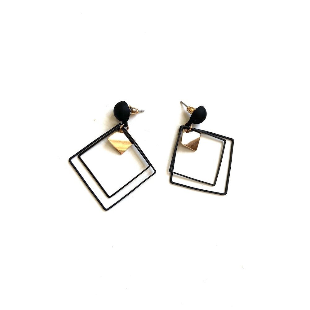 One of a Kind Club Black Strong Square Earrings