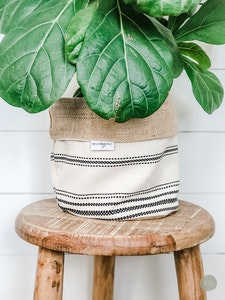 Pot Plant Cover - Apartment Stripe and Hessian Reversible