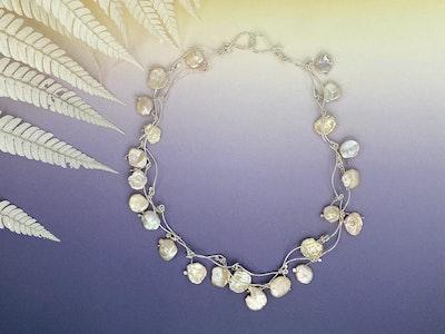 Apricot cornflake keshi pearl necklace