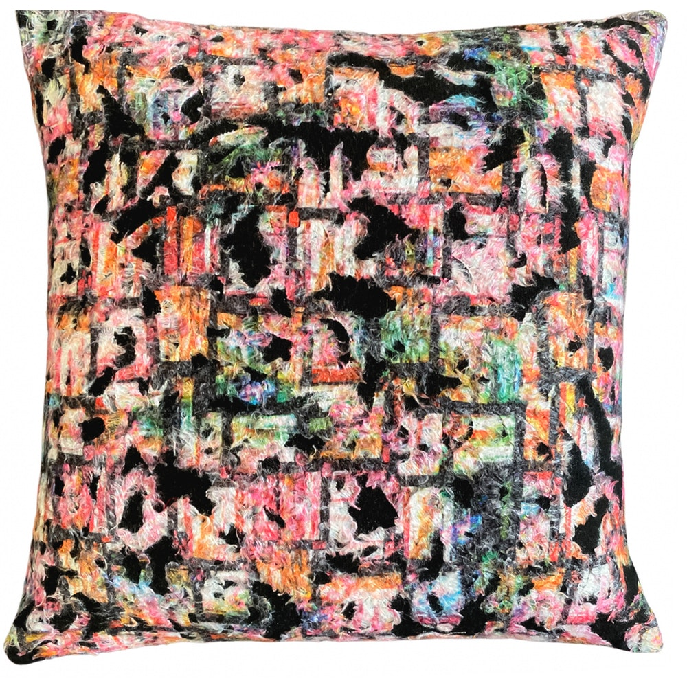 The Cushion Maven Handmade Cushion In Multi-coloured Cotton Fur